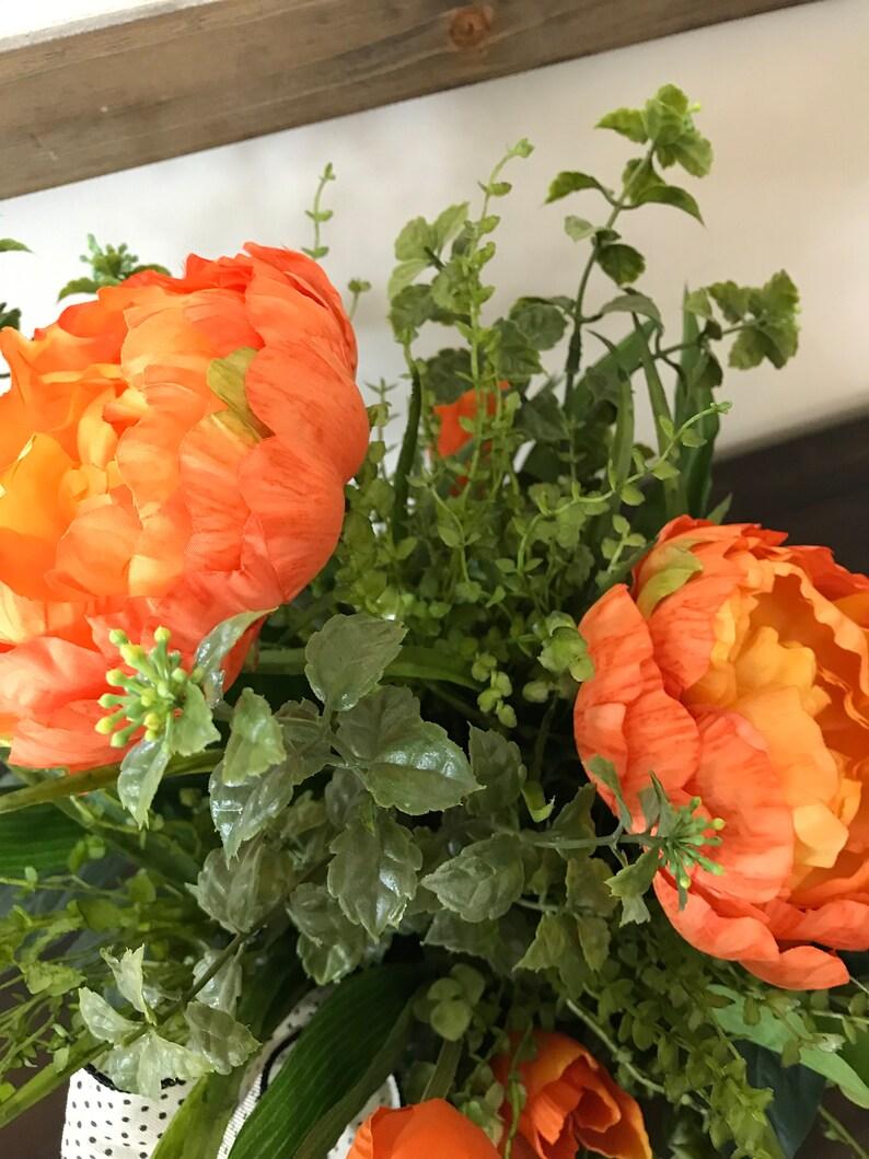 Spring Summer Centerpiece Farmhouse Centerpiece Peony Floral Arrangement Orange Centerpiece Wedding Centerpiece Peony Centerpiece