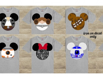 0d7e6778 Star Wars Disney Iron On Decals Hans Solo Princess Leia Death Star R2D2  Personalized Mickey Mouse Matching Family Disney for Shirt 042