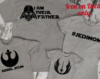 0526174e Star Wars Darth Vader I am your Father Jedi Mom Rebel Scum Jedi Rebellion  Matching Family Disney World Vacation Iron On Decal for Shirt 042
