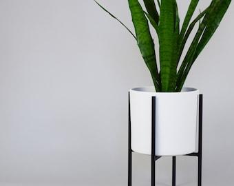 Mid Century Modern Metal Plant Stand - Planter Set -  Indoor - Outdoor - Ceramic Pot
