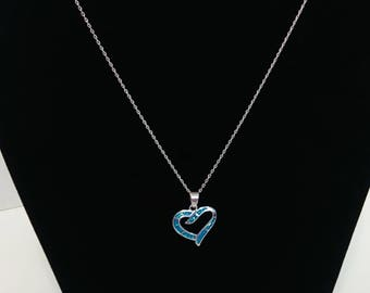 Beautiful 18in 925 Sterling Silver Heart with Blue Opal