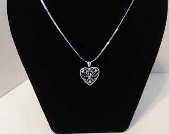 18in 925 Sterling Silver Heart with Floral Design Inside Heart