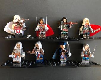Brand new unassembled Assassins creeds unity minifigures movie TV show ninjia minifigures Kenway Firenze Cormac Dorian minifigures