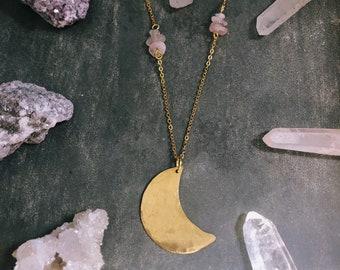 Half Moon Necklace Brass Celestial Jewelry Tribal Brass Lunar Moon Gift Black Amethyst Plum Moon Modern Acrylic Necklace Hammered Brass