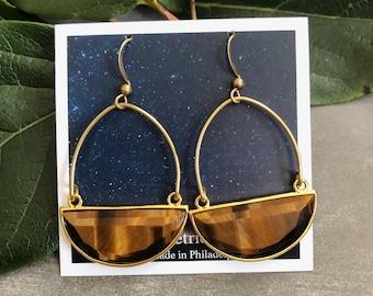 Clarion Earrings ~ Tiger's Eye ~ Half Moon Golden Brown Gemstones in Gold Plated Setting  Brass Hooks Handmade in Philadelphia Minimal