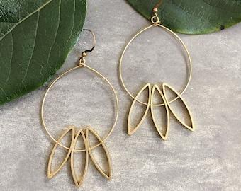 Harmony Earrings ~ Delicate Brass Flower Floral Leaf  Dangles Handmade in Philadelphia Geometric Jewelry Modern Minimal Circle Half Moon