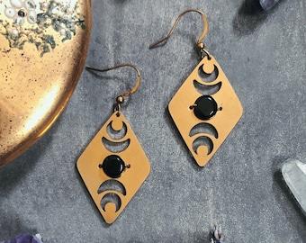 Tioga Earrings ~ Black Onyx ~ Brass Diamond Shape Cutout Celestial Dangles  Moon Phase Crescent Handmade in Philadelphia Geometric Jewelry
