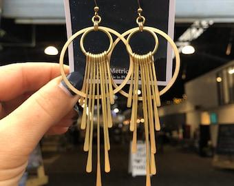Mullica Earrings ~ Delicate Brass Fringe Sun Ray Gold  Dangles Handmade in Philadelphia Geometric Jewelry Modern Minimal Circle Half Moon
