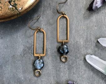 Manjo Earrings ~ Labradorite  ~ Delicate Brass Dangles with Earthy Gray Gemstones Handmade in Philadelphia Geometric Gold Jewelry