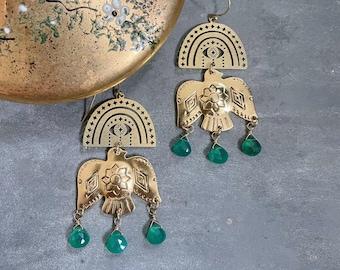 Free Bird Earrings ~ Green Onyx ~ Statement Southwestern Bird Arch Evil eye & Teardrop  Gemstones Fringe Brass Dangles