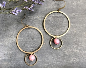 Belmont Earrings ~ Rhodonite ~ Soft Pink Gemstone Beads Circles Hoop Brass Statement Geometric Dangles Handmade
