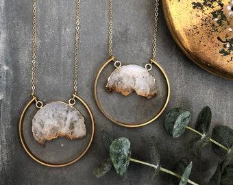 Haddon Necklace ~ Raw Citrine Slice Brass Circle Hoop Gold Plated Chain Geometric Long Boho Pendant Gift Made in Philadelphia