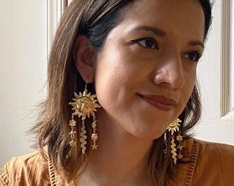 Mother Earth Earrings ~ Statement Sun Moon Star Bird Flower Leaf River Brass Dangles Handmade in Philadelphia Vintage Inspired