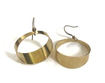 9a67661d6 Orb Earrings ~ Wide Brass Circle Pipe Gold Hoop Dangles Handmade in  Philadelphia Geometric Jewelry