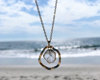 Cowan Necklace ~ Raw Clear Quartz & Gold Plated Wavy Brass Charm Chain Pendant Geometric Long Boho Gift Made in Philadelphia