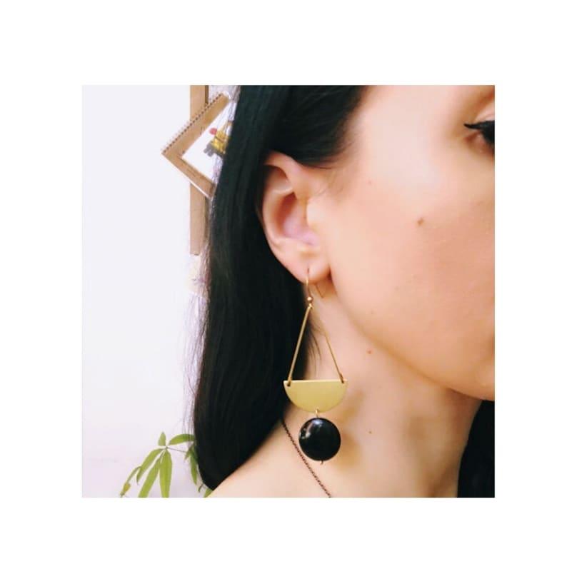 Glade Earrings ~ Picture Jasper ~ Half Moon Circle Brass Beige Brown Round Gemstones Geometric Dangles Handmade in Philadelphia