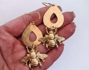 Bumble Bee Earrings ~ Statement Bumble Bee & Teardrop Brass Summer Dangles Handmade in Philadelphia Vintage Inspired Jewelry