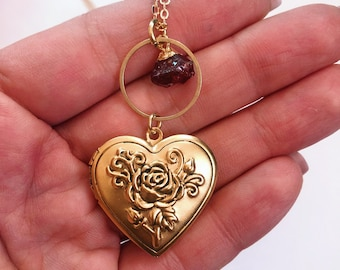 Rose to my Heart Locket Necklace ~ Vintage Textured Pendant Red Garnet Gemstone Long Gold Plated Chain Handmade in Philadelphia