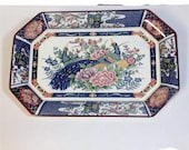 VINTAGE JAPANESE Serving PLATE With Blue Peacock And Hen