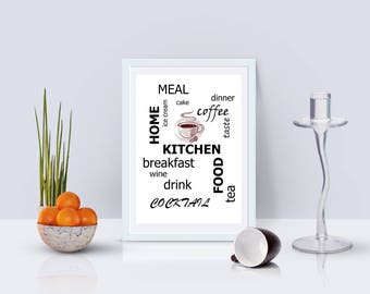 kitchen words for kitchen print for wall love print black print