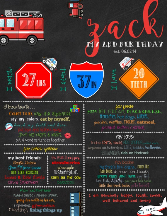 Vehicles Theme Birthday Digital Chalkboard 2nd