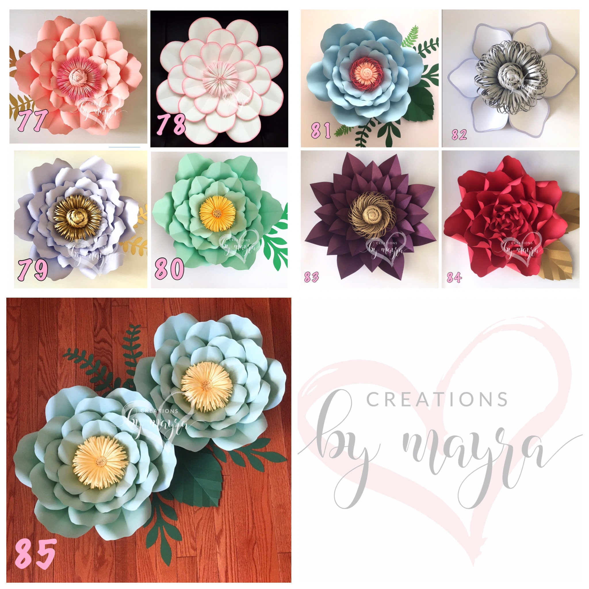 Hardcopy Paper Flower Templates Diy Paper Flowers Price Etsy
