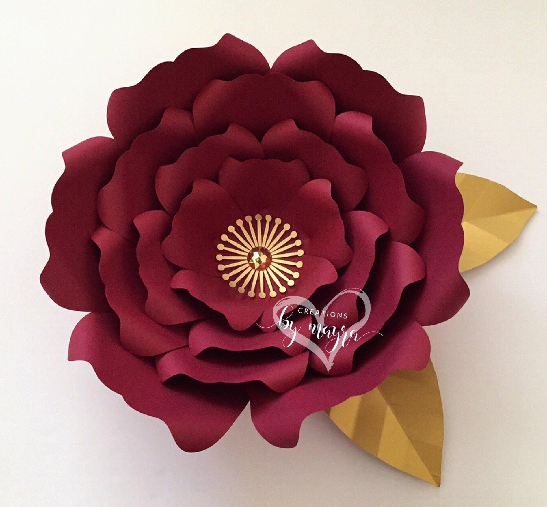 Svg Flower Template 65 Diy Paper Flowers Flower Templates Etsy