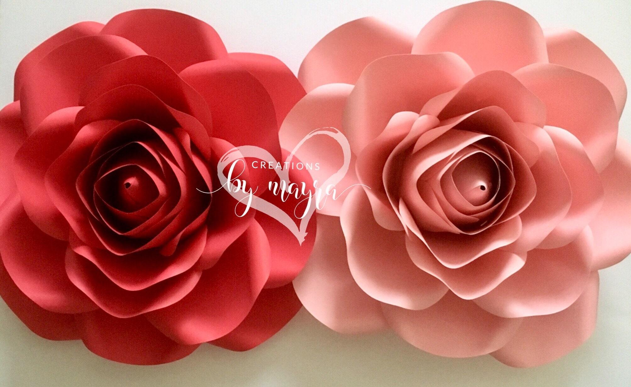 Pdf Large Rose Template 17 18 Diy Paper Roses Paper Etsy