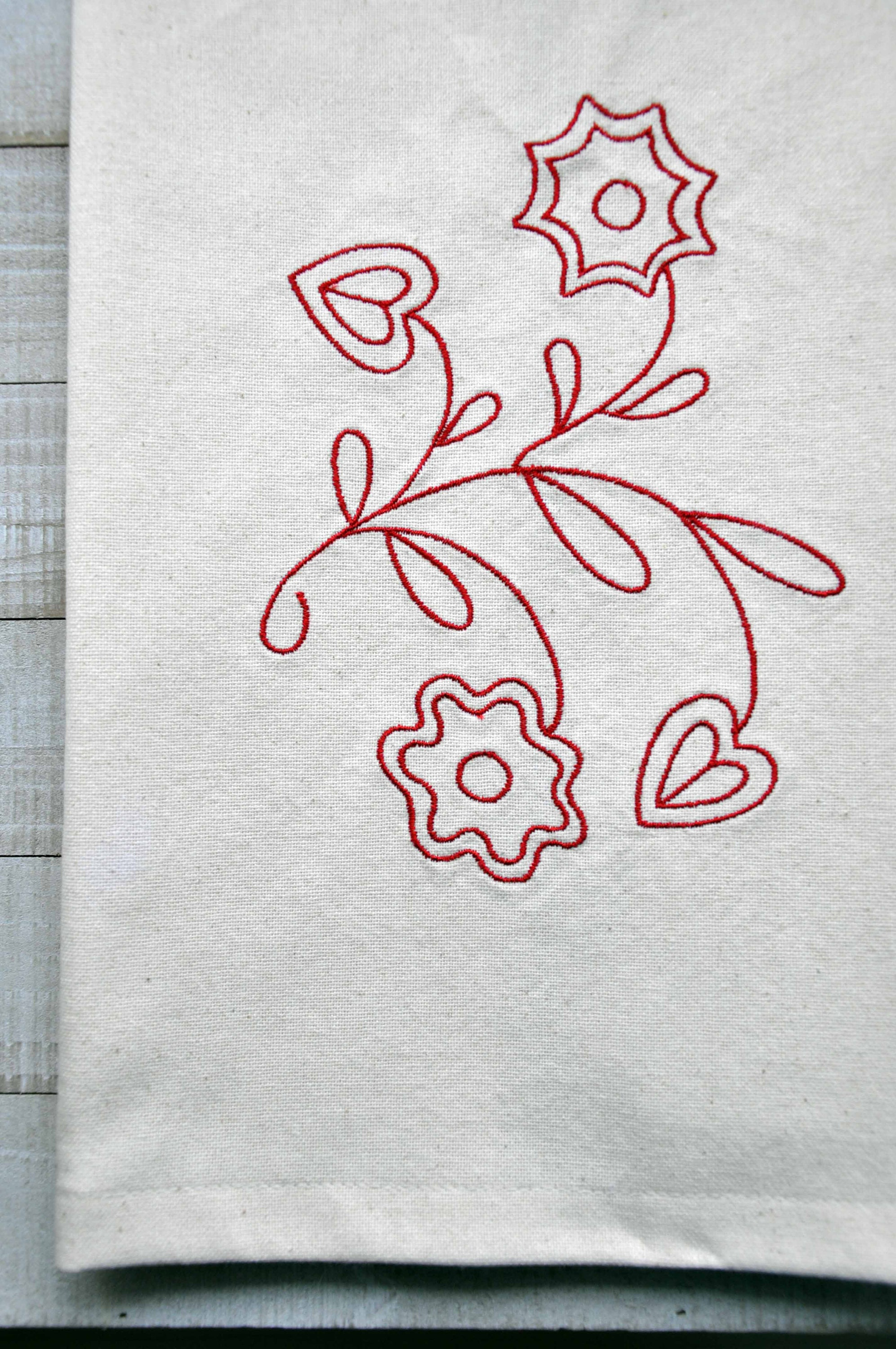 DAR New England Wool Counterpane Tea Towel with Embroidery Designs on Front and Back