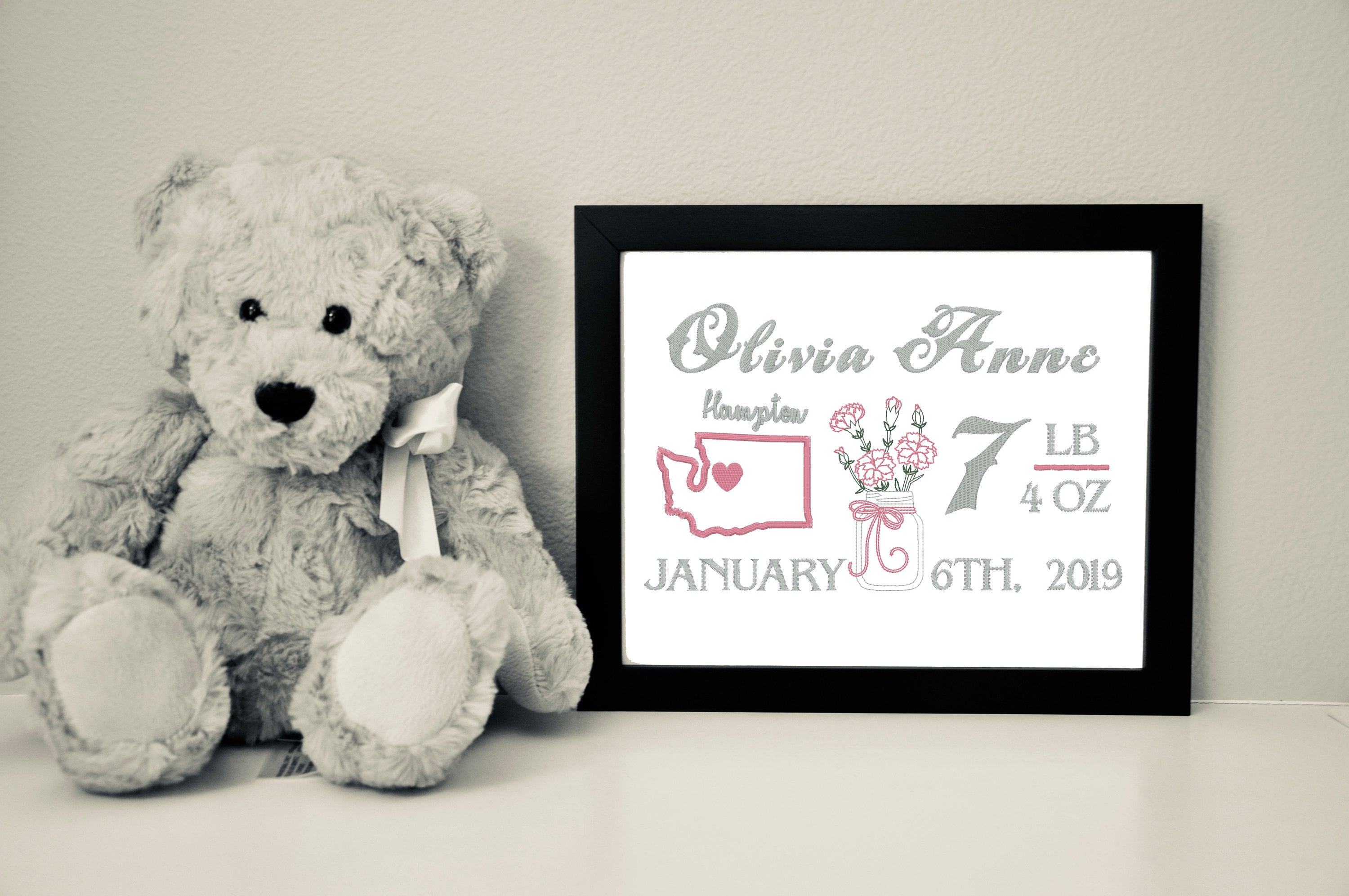 Custom Baby Girl Canvas with Flower of the Month, 8x10
