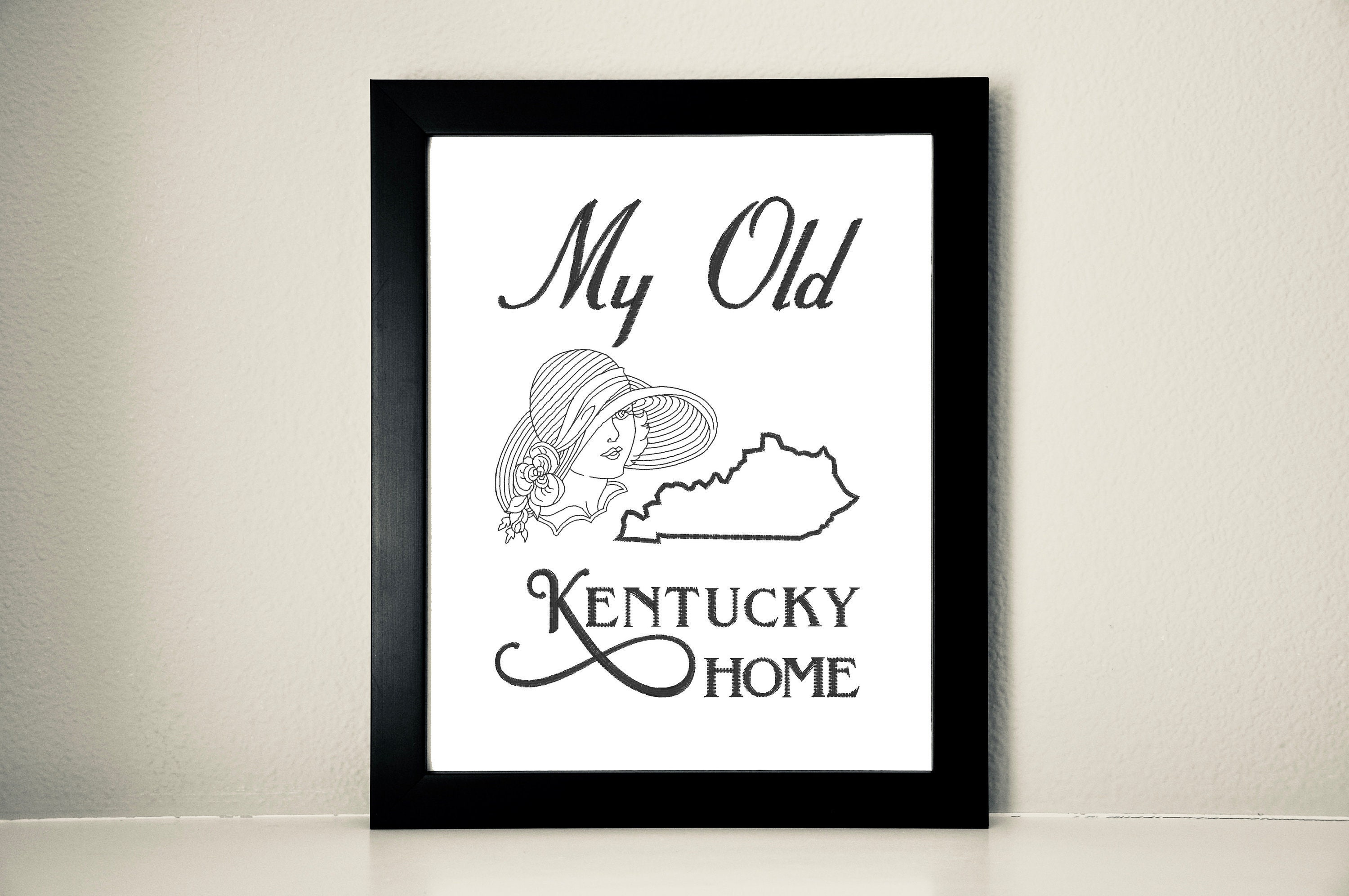 My Old Kentucky Home Embroidered Canvas, Bluegrass State, 8x10
