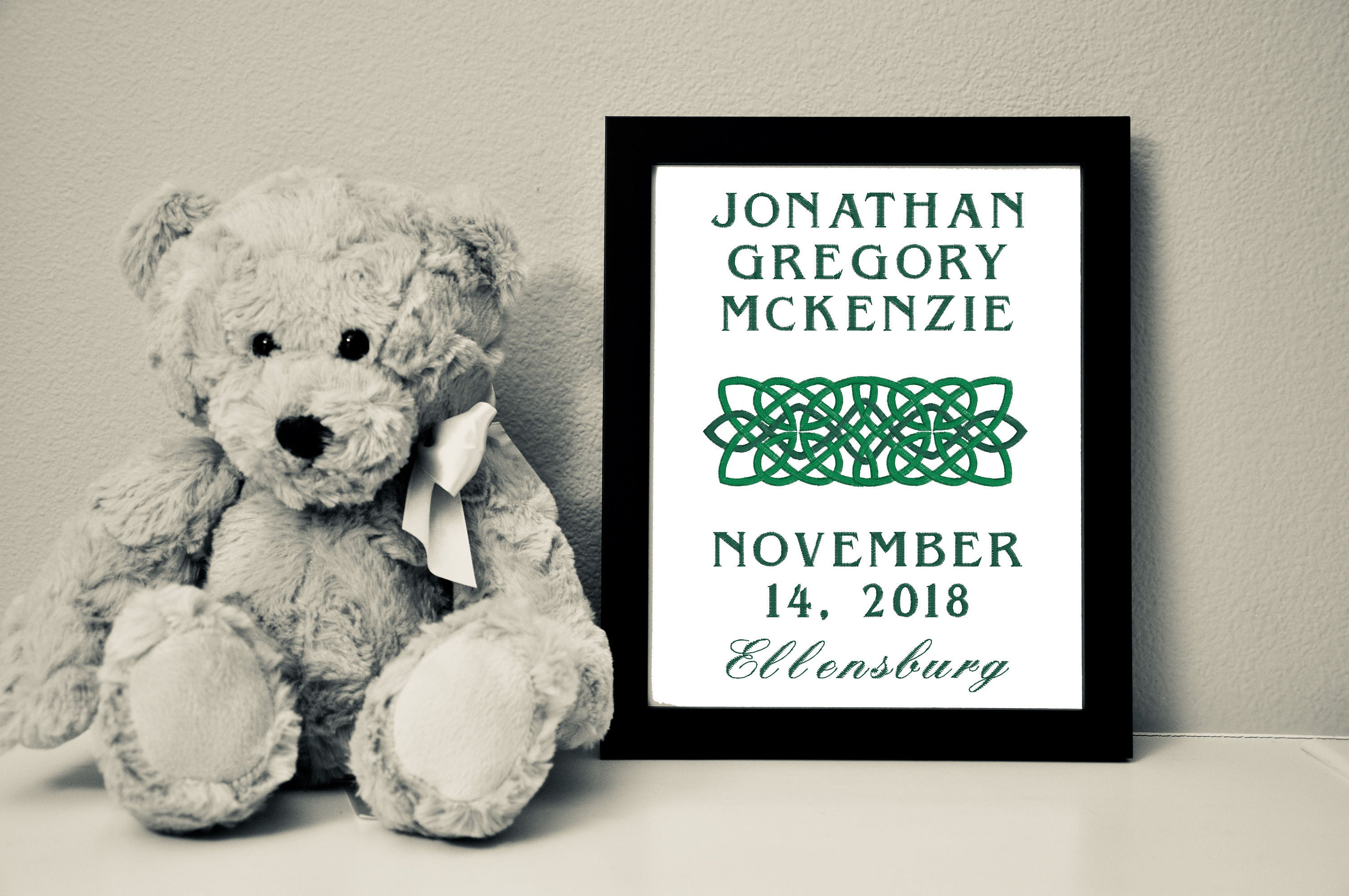 Custom Baby Canvas with Celtic Knot Border, 8x10