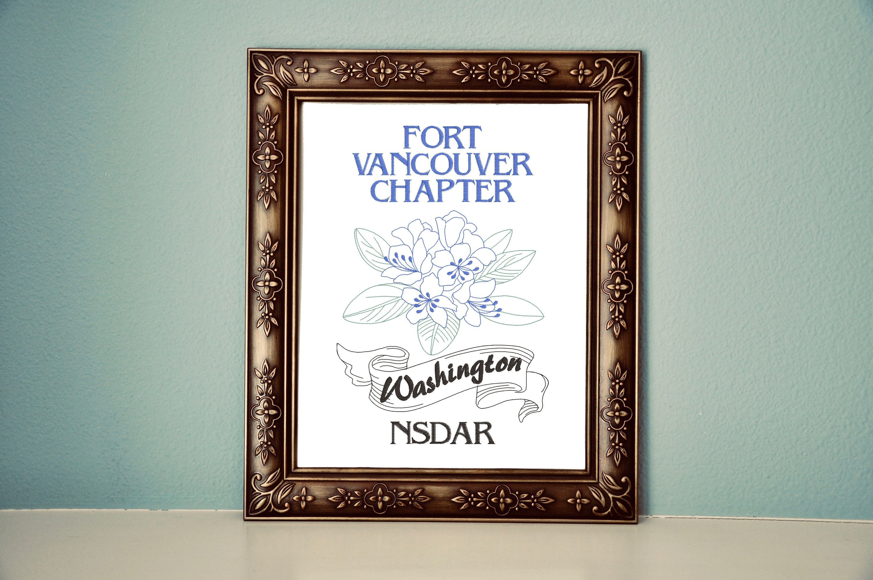 Custom NSDAR Chapter Canvas with State Flower, 8x10