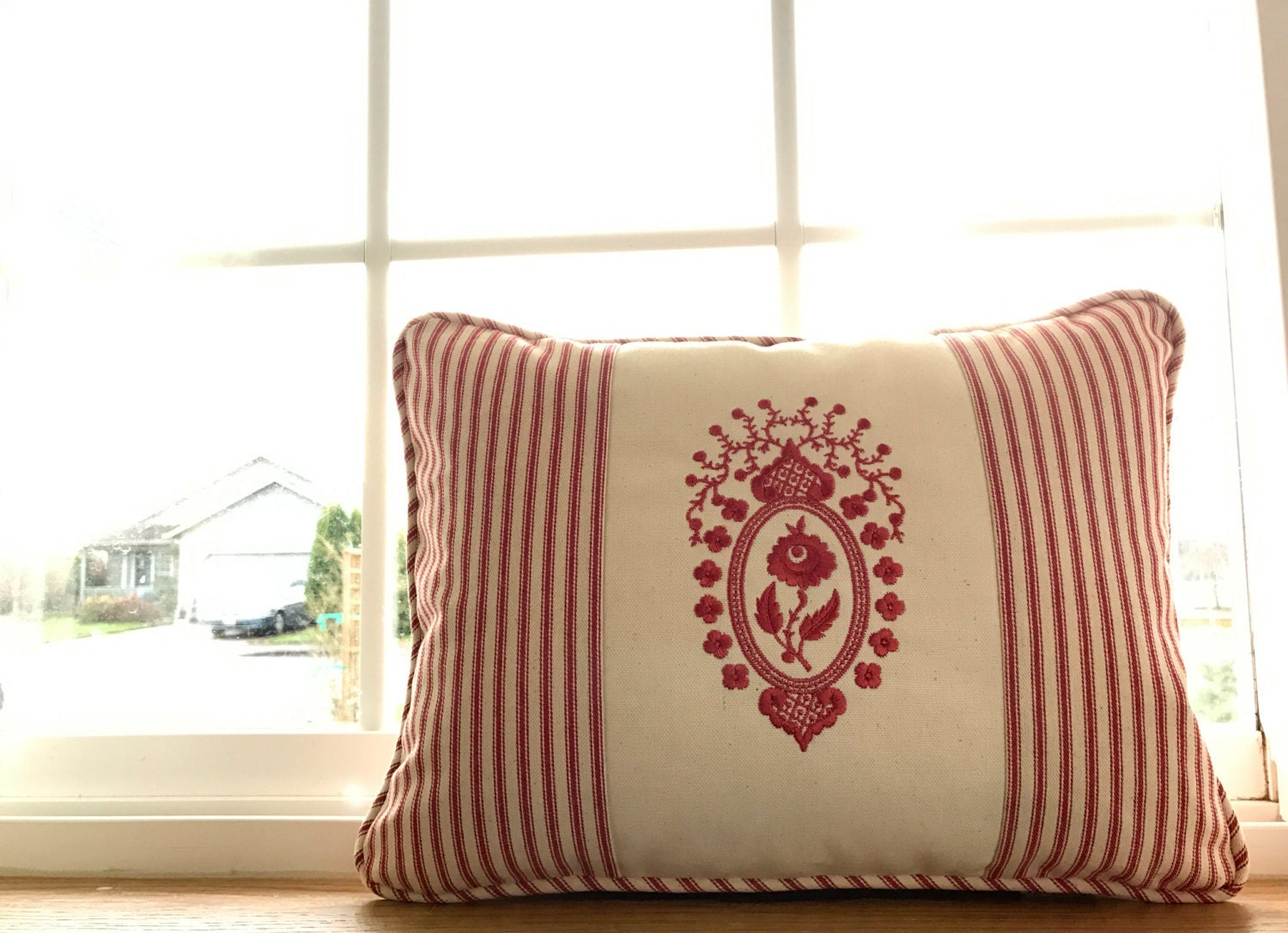 DAR Rose Medallion Embroidered Cranberry Pillow