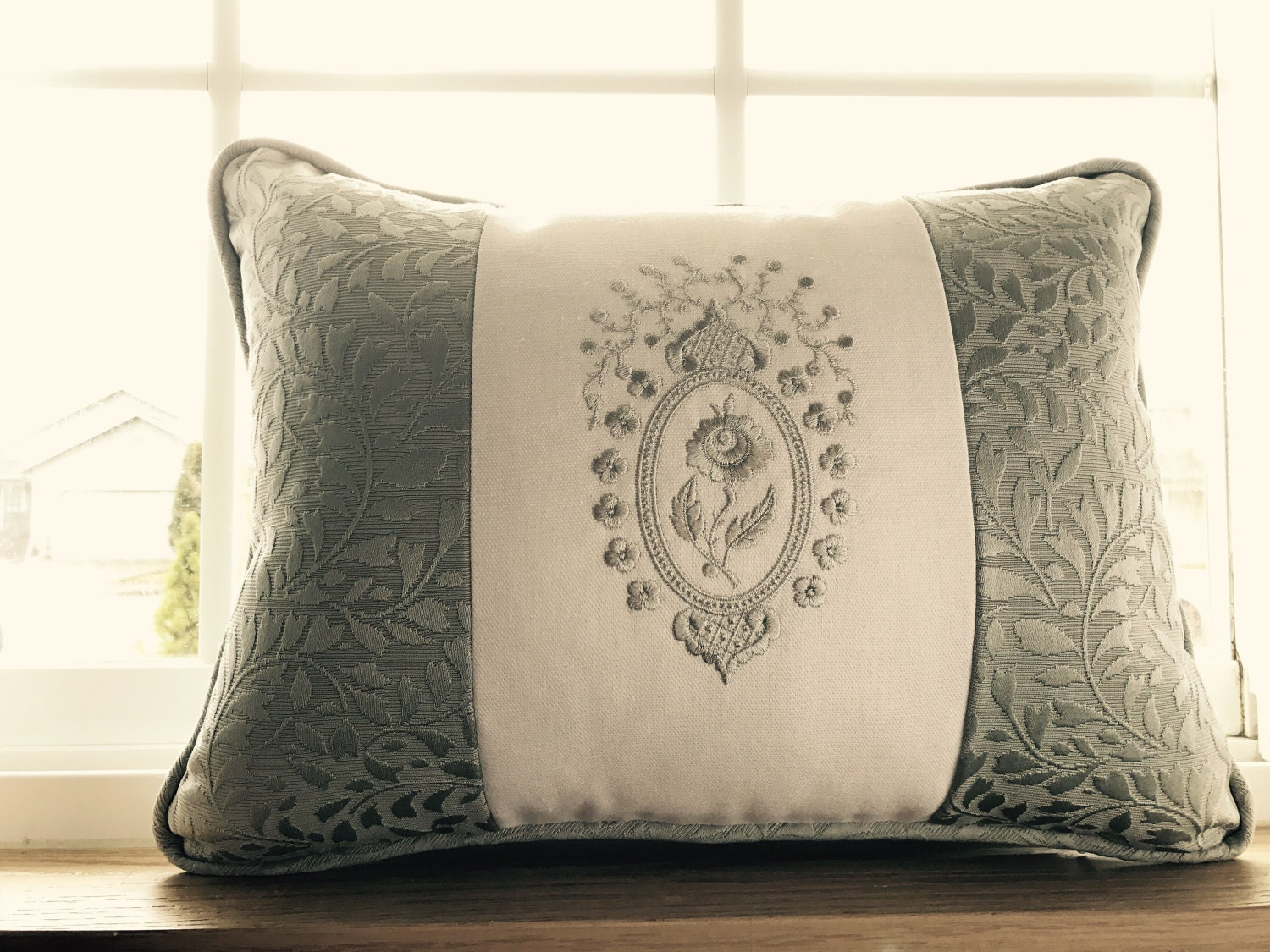 DAR Rose Medallion Blue Grey Embroidered Pillow