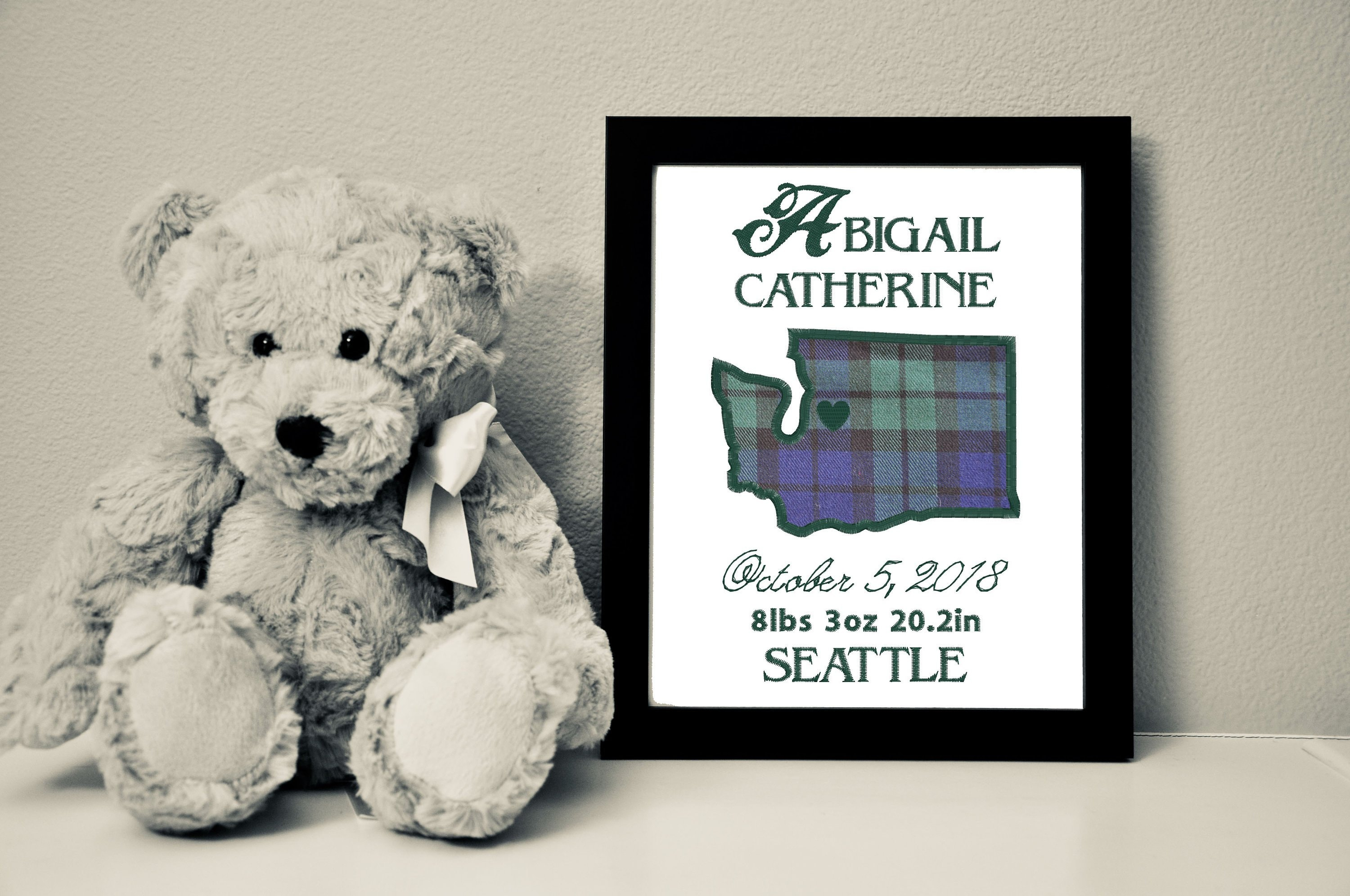 Custom Baby Canvas with Black Watch Tartan Fabric, Embroidery + Applique, 8x10