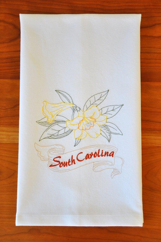 South Carolina State Flower Tea Towel, Carolina Jessamine