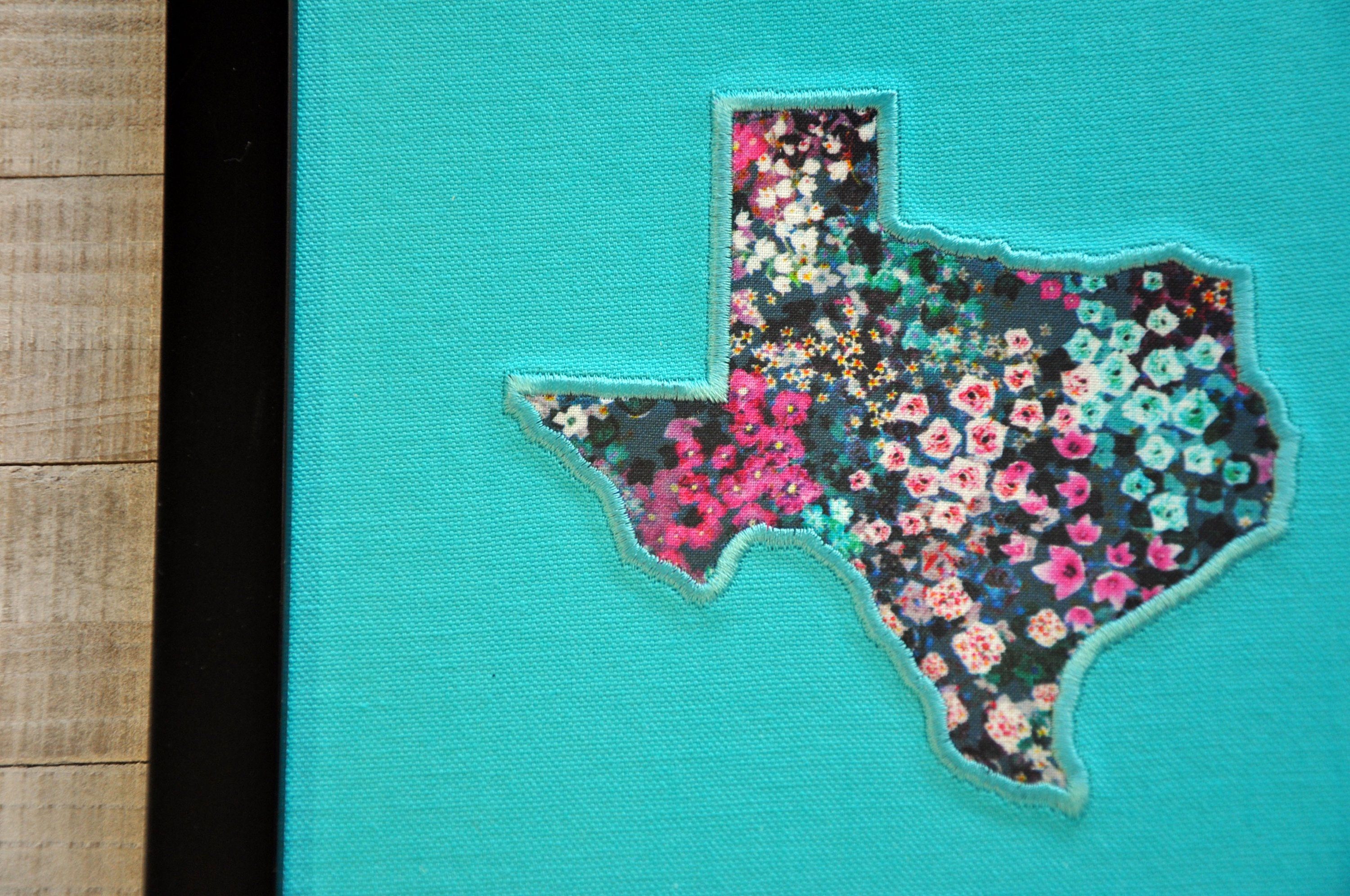 Texas Embroidery Canvas, Applique with Wildflowers Print, 8x10