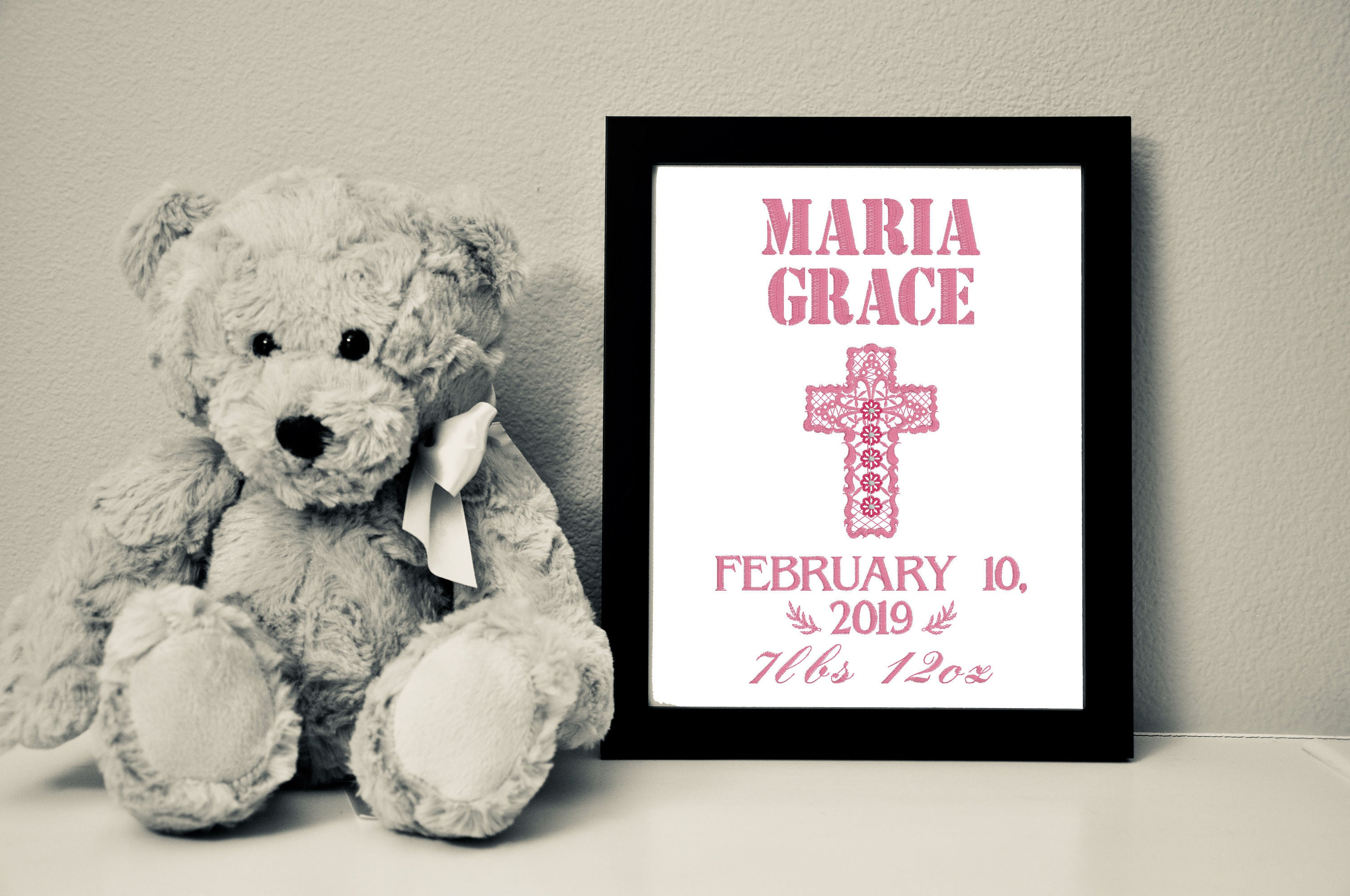Custom Baby Canvas with Lattice Cross, Birthstone Color, 8x10