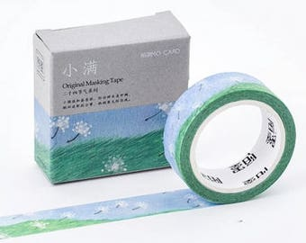Dandelion Field - Dandelion Washi Tape - Grassfield Washi Tape - Dandelions - Sunny Day (15mm X 7m)