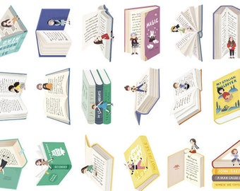 Books - Set of 30 - Book Cards - Reading Cards - Post cards - Cute post cards - Die cut cards - Reading girls - Book theme