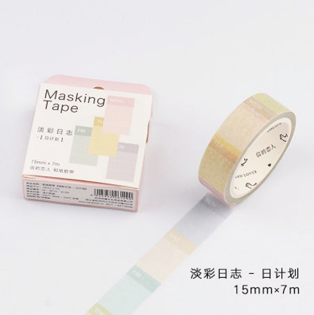 Pastel Days - Pastel washi tape - Planner washi tape - Days of Week - Page markers - Planner Tapes (15mm X 7m)
