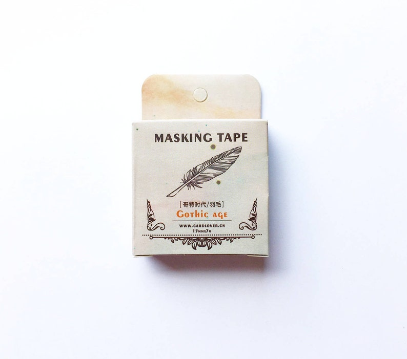 Brass Feather Washi Tape Antique Feathers Feather Washi Tape Old Feather Washi Tape 15mm X 7m