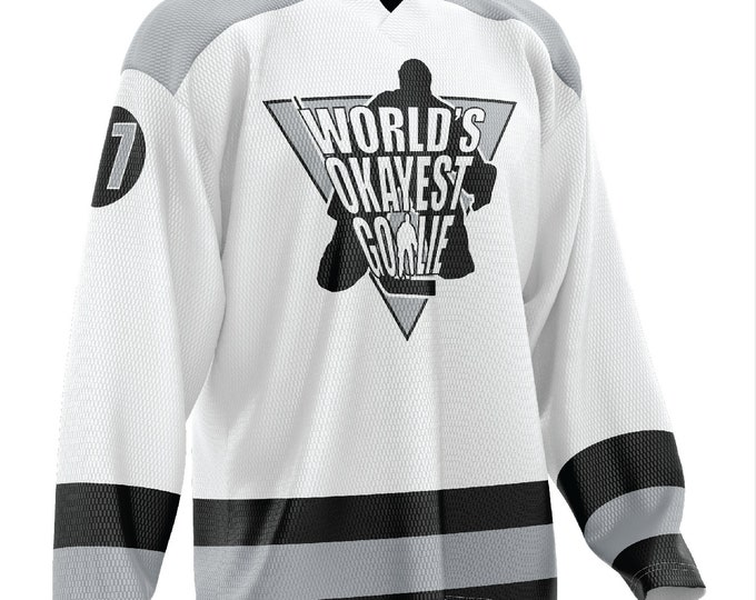 World's Okayest Goalie Hockey Jersey White/Black/Gray