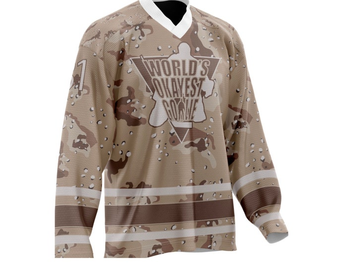 World's Okayest Goalie Hockey Jersey Desert Camo