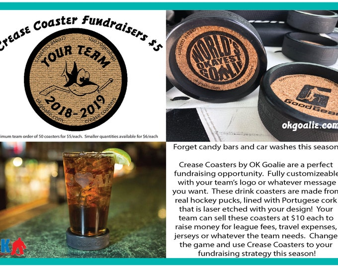 Crease Coaster hockey puck drink coasters for fundraising