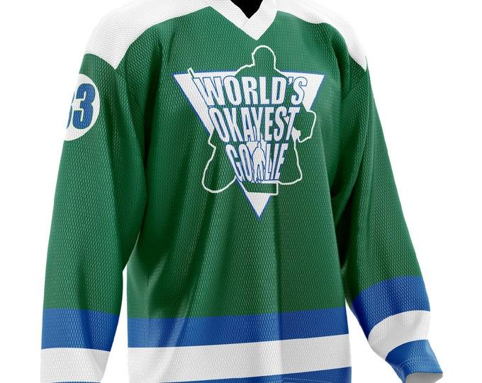 World's Okayest Goalie Hockey Jersey Green/Blue/White