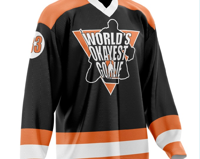World's Okayest Goalie Hockey Jersey Black/Orange/White