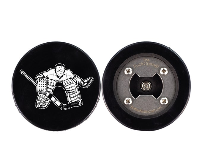 Vintage Goaltender Puck Bottle Opener