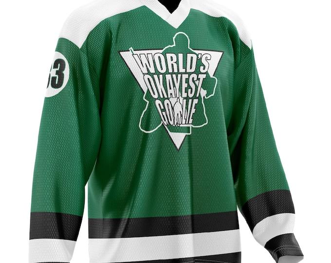 World's Okayest Goalie Hockey Jersey Green/Black/White